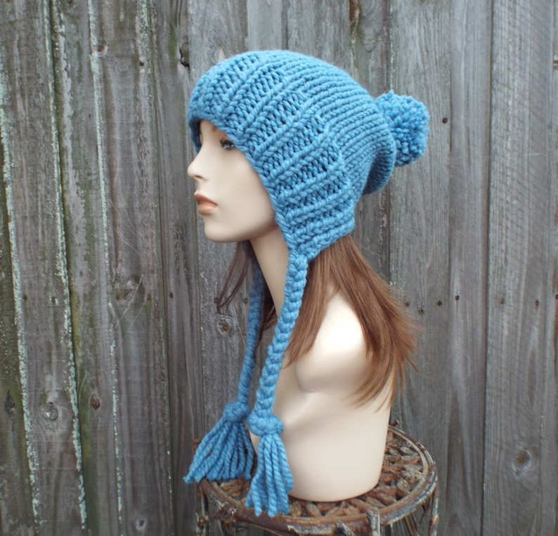 Charlotte Air Force Blue Mens Hat Slouchy Beanie Hat Chunky Knit Hat Womens Hats Winter Hats Pom Pom Hat Fall Fashion