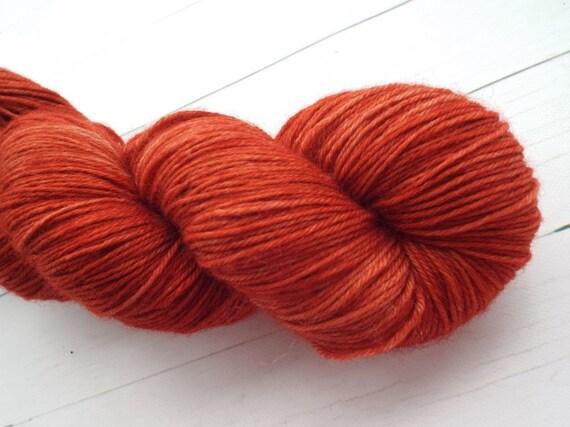 Hand Dyed Yarn Hand Dyed Sock Yarn Superwash Merino Nylon Blend 80/20 Fingering Weight Yarn - Tonal Rust Yarn, Burnt Orange Yarn