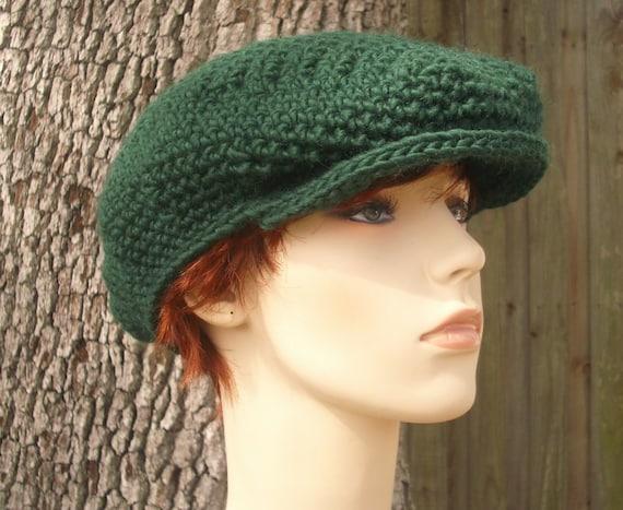 Crochet Hat Green Womens Hat Green Mens Hat Green Newsboy Hat - Ivy League Cap in Pine Green Crochet Hat - Green Hat Womens Accessories