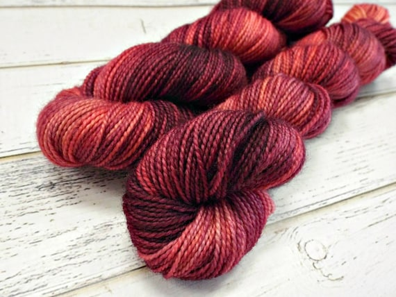 Hand Dyed Sock Yarn Superwash Wool Nylon 80/20 Fingering Weight Yarn Sock Yarn - 50 Grams - Burgundy Yarn Pink Yarn Red Yarn - Sangria
