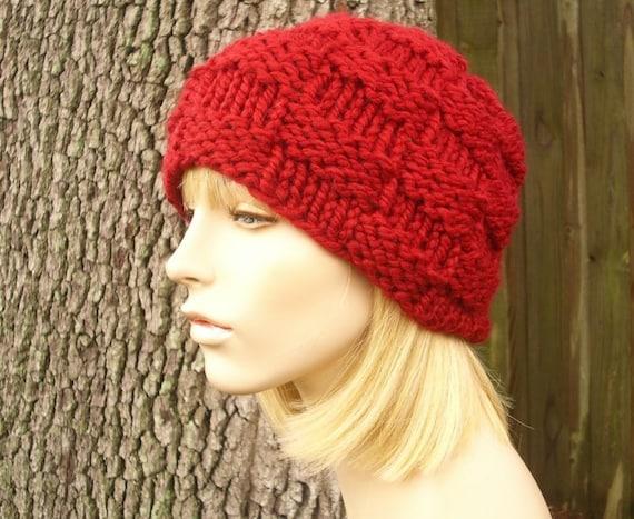 Knit Hat Womens Hat - Basket Weave Beanie in Cranberry Red Knit Hat - Red Hat Red Beanie Womens Accessories Winter Hat