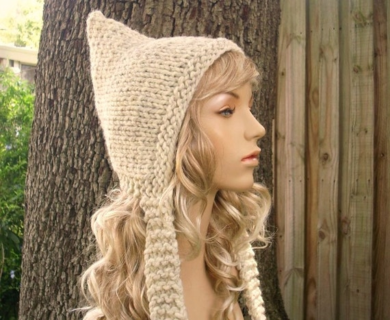 Knit Hat Womens Hat - Pixie Hat in Wheat Cream Knit Hat - Cream Hat Wheat Hat Wheat Pixie Hat Cream Pixie Hat Womens Accessories Winter Hat