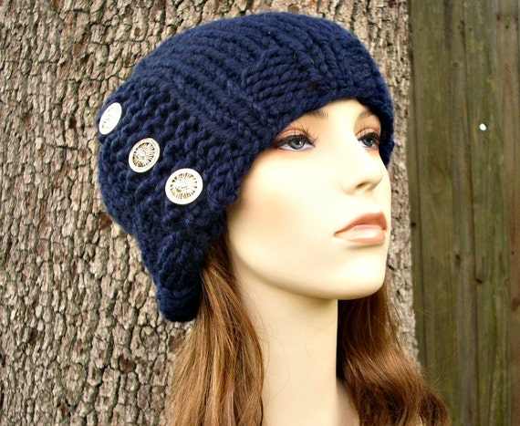 Knit Hat Womens Hat - Cardigan Beanie Hat in Navy Blue Knit Hat - Blue Beanie Blue Hat Navy Beanie Navy Hat Womens Accessories Winter Hat