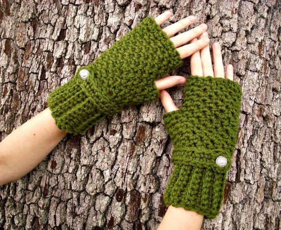 Crocheted Gloves - Olive Green Fingerless Gloves Green Hand Warmers Green Mittens Green Gloves Womens Gloves - Womens Accessories