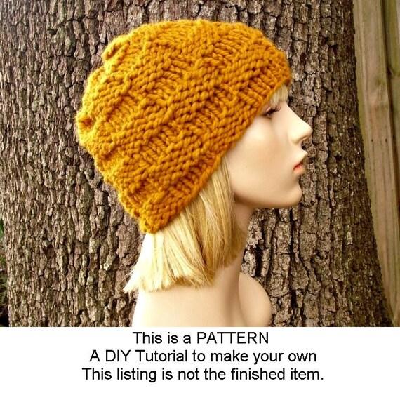 Instant Download Knitting Pattern - Knit Hat Pattern - Basket Weave Beanie Pattern - Womens Hat Pattern Mens Hat Pattern Womens