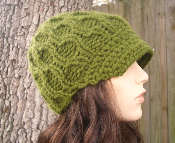 Olive Green Womens Hat Green Newsboy Hat - Amsterdam Cable Beanie with Visor Olive Green Knit Hat - Green Hat Womens Accessories Winter Hat