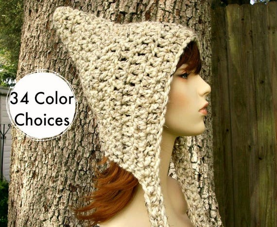 Oatmeal Pixie Hat Chunky Crochet Hat Women - Oatmeal Hat Womens Accessories Fall Fashion Winter Hat - 34 Color Choices