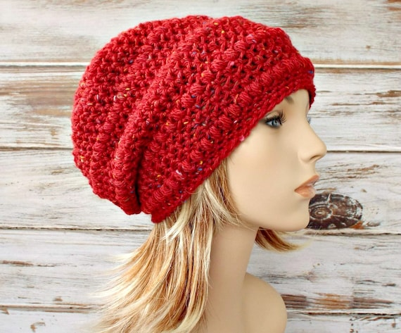 2f51beb875d3e1 ... Red Slouchy Hat Crochet Hat Womens Hat - Penelope Puff Stitch Slouchy  Beanie Crochet Hat -