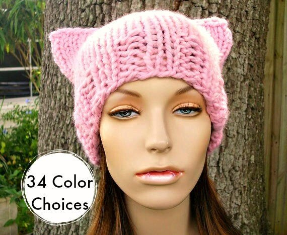 Womens Hat - Cat Beanie Hat - Blossom Pink Knit Hat - Pink Hat Pink Beanie Pink Cat Hat - Pink Pussyhat Pink Pussy Hat