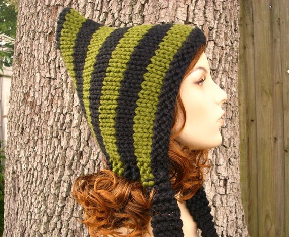 Black and Green Pixie Hat - Knit Hat Womens Hat - Black Hat Green Hat Black Pixie Hat Green Pixie Hat Womens Accessories Winter Hat