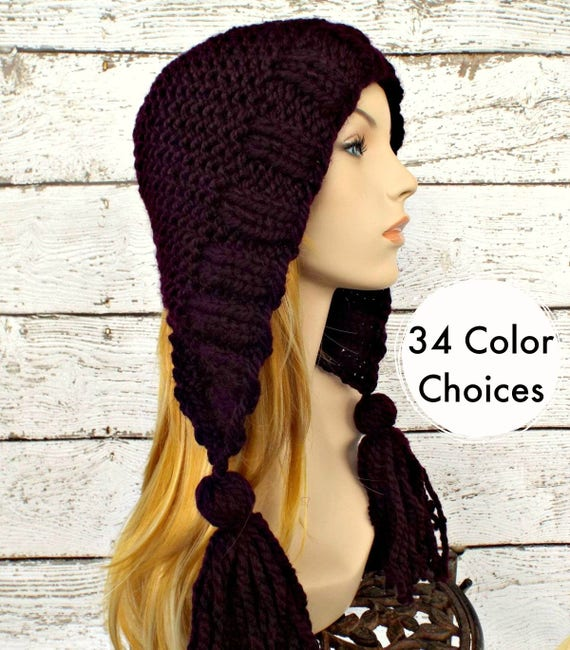 Knit Hat Womens Hat Knit Hood Ear Flap Hat - Tassel Hat in Eggplant Purple Knit Hat - Womens Accessories Winter Hat - 34 Color Choices