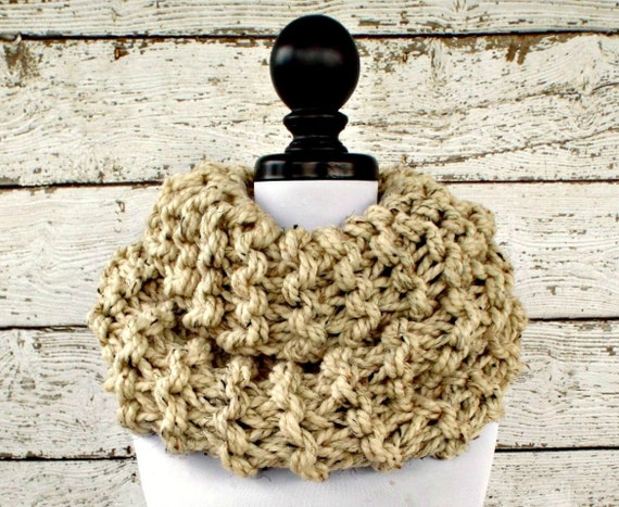 Chunky Knit Scarf Circle Scarf Oversized Cowl Chunky Cowl Highlands Cowl Oatmeal Cowl Oatmeal Scarf Knit Accessories - READY TO SHIP