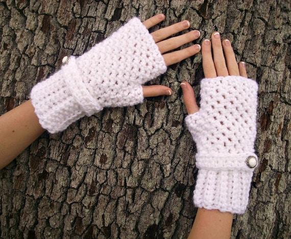 Crocheted Fingerless Gloves Mittens - Fingerless Gloves in White - White Gloves White Mittens Womens Accessories