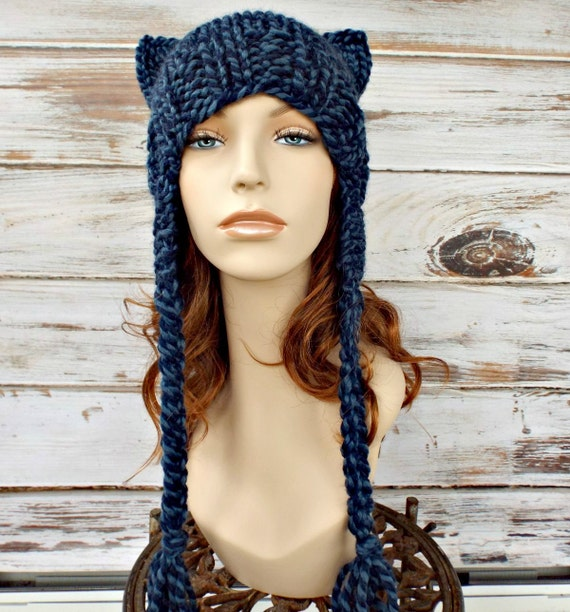 Knit Hat Womens Hat - Braided Ties Ear Flap Cat Hat in Mixed Blue Knit Hat - Blue Hat Blue Cat Hat Blue Beanie Womens Accessories Winter Hat