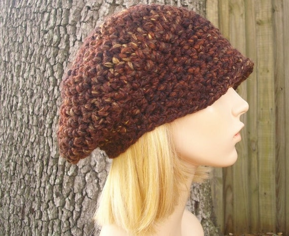 Brown Womens Hat Brown Newsboy Hat - Crochet Newsboy Hat in Sequoia Brown Crochet Hat - Brown Hat Brown Beanie Womens Accessories
