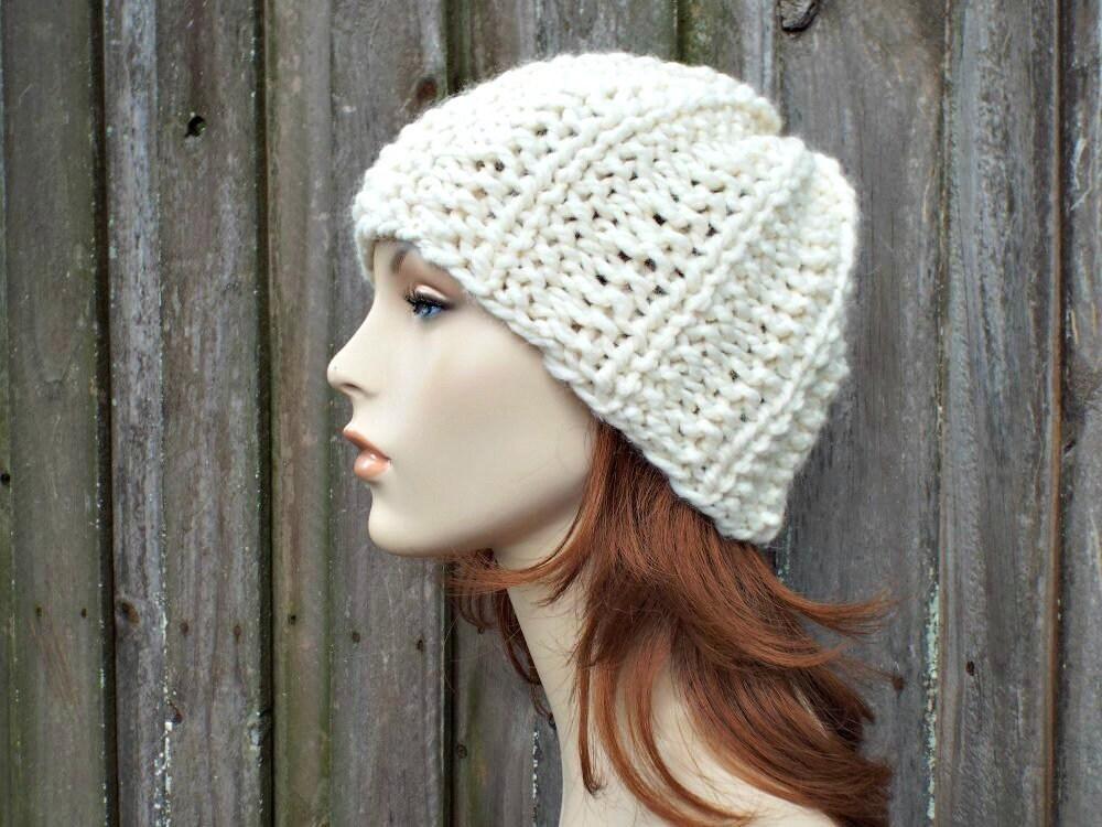 e03e4cf9482c3 Twilight Beanie - Cream Mens Hat Cream Womens Hat - Chunky Warm Winter  Beanie Knit Accessories - Cream Hat Cream Beanie