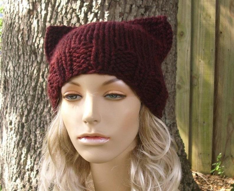 Womens Accessories Winter Hat Cat Beanie Hat in Claret Red Wine Knit Hat Red Beanie Red Hat Knit Hat Womens Hat