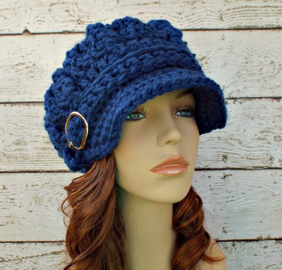 Crochet Hat Womens Hat Blue Hat Blue Newsboy Hat - Oversized Monarch Ribbed Crochet Newsboy Hat in Sapphire Blue - Womens Accessories
