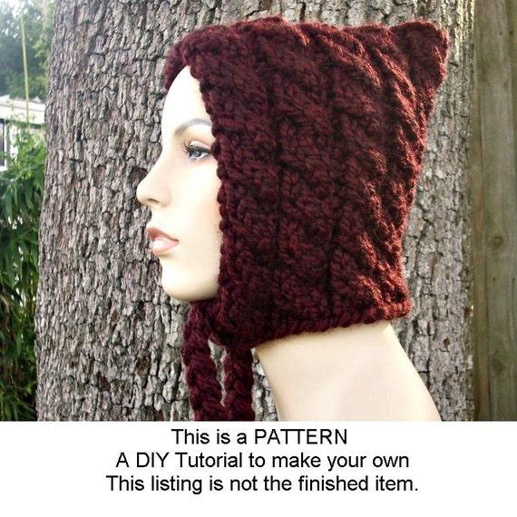 Instant Download Knitting Pattern - Knit Hat Knitting Pattern - Knit Hat Pattern Cable Pixie Hat - Womens Hat Pattern - Womens
