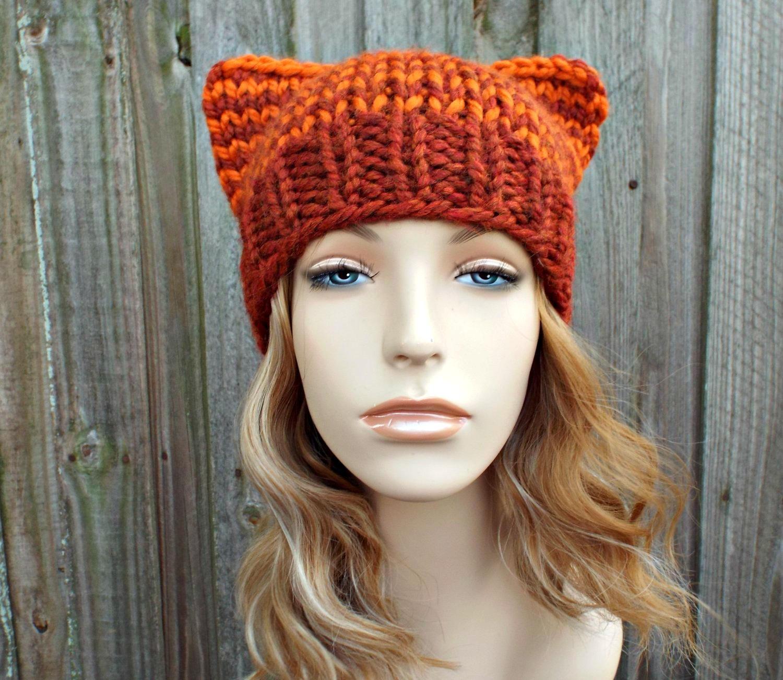 1146cedff51fb Ginger Cat Hat - Orange Cat Beanie Orange Knit Hat Womens Hat - Orange Hat  With Ears Orange Beanie Orange Cat Hat Chunky Knit Hat
