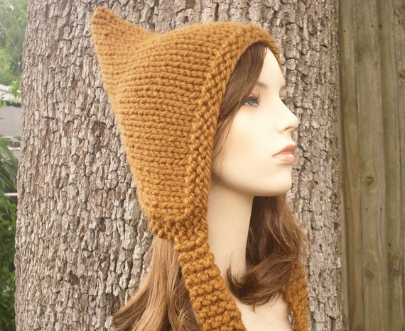 Brown Pixie Hat Womens Hat - Hazelnut Brown Knit Hat Brown Hat Womens Accessories Chunky Knit Fall Fashion Winter Accessories