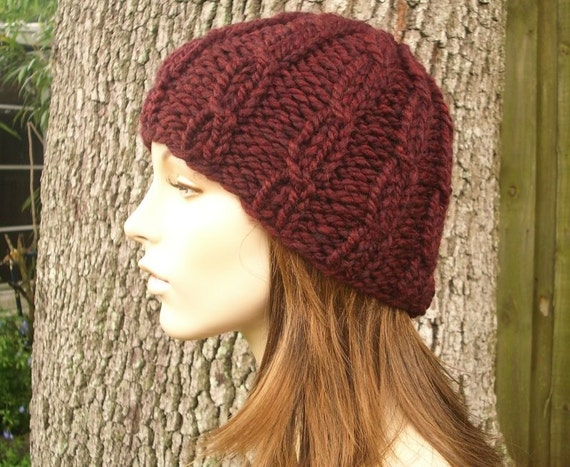 Knit Hat Womens Hat - Cable Beanie in Oxblood Wine Merlot Knit Hat - Womens Accessories Winter Hat