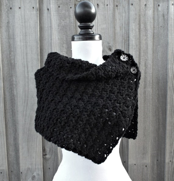Crochet Cowl - Eloise Cowl Crochet Capelet in Black Cowl - Black Scarf Black Capelet Black Shawl Womens Accessories