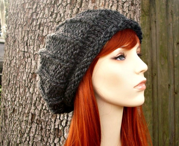 Grey Womens Hat - Rolled Brim Ribbed Beret Hat in Charcoal Grey Knit Hat - Grey Hat Grey Beret Grey Beanie Womens Accessories
