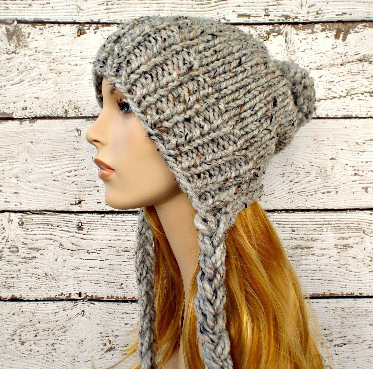 Instant Download Knitting Pattern - Slouchy Ear Flap Hat Pattern ...