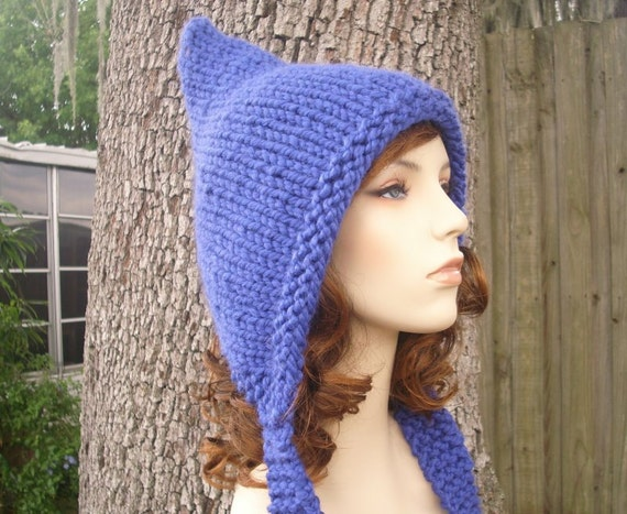 Knit Hat Blue Womens Hat - Pixie Hat in Cobalt Blue Knit Hat - Blue Hat Blue Pixie Hat Womens Accessories Winter Hat