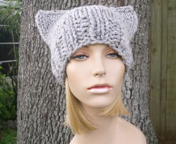 Knit Hat Womens Hat - Grey Cat Beanie Hat in Tweed Grey Knit Hat - Grey Hat Grey Beanie Grey Cat Hat Womens Accessories Winter Hat