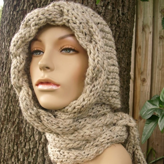 Cable Knit Scarf Hat Charcoal Grey Hooded Scarves Womens Hat Winter Hat Oversized Scarf Hat Grey Hat Grey Scarf Winter Scarf Womens Scarf