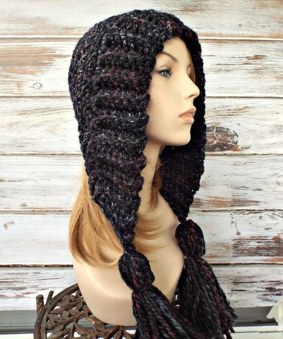 Grey Womens Hat Crochet Hood Grey Ear Flap Hat - Tassel Hat Blackstone Black Grey Crochet Hat - Grey Hat Womens Accessories