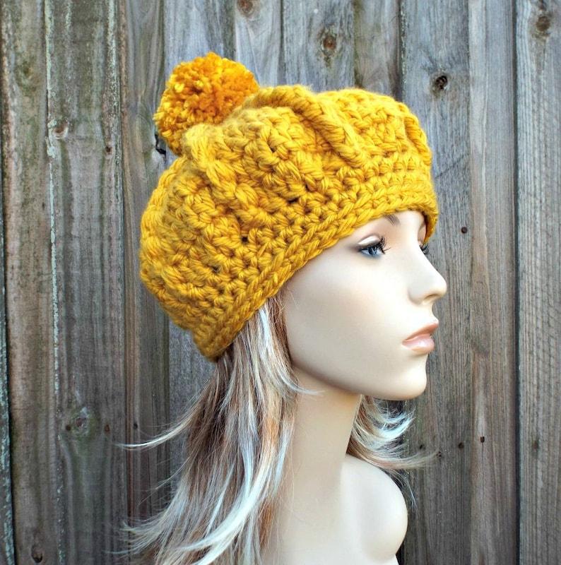 87ccef091fc51 Womens Pom Pom Beret Crochet Hat Oversized Monarch Ribbed