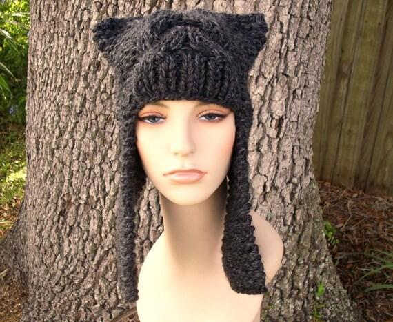 Grey Knit Hat Grey Womens Hat - Dragon Slayer Grey Ear Flap Hat Charcoal Grey Knit Hat - Grey Hat Grey Beanie Womens Accessories Winter Hat