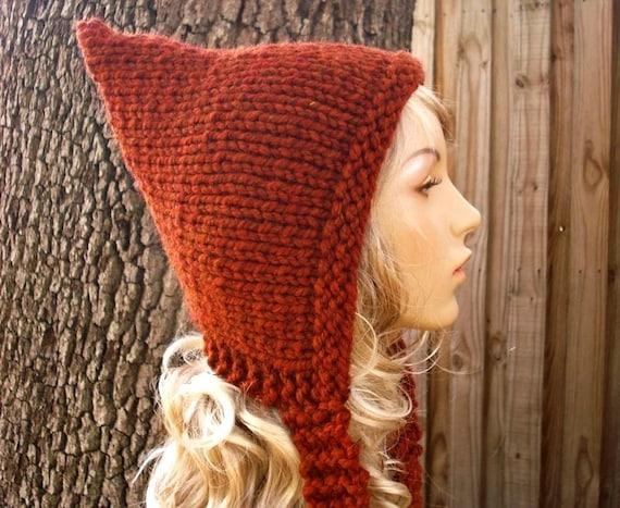 Knit Hat Womens Hat - Burnt Orange Pixie Hat in Rust Burnt Orange Knit Hat - Burnt Orange Hat Rust Hat Womens Accessories Winter Hat