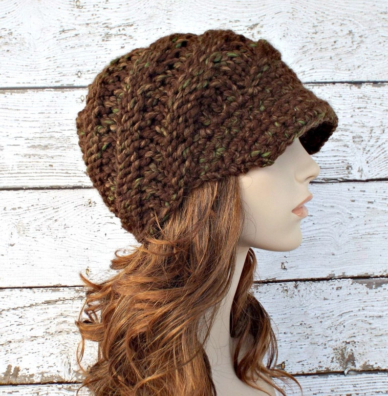 80f61b87ee3234 Knit Hat Womens Hat Newsboy Hat Swirl Beanie with Visor in | Etsy