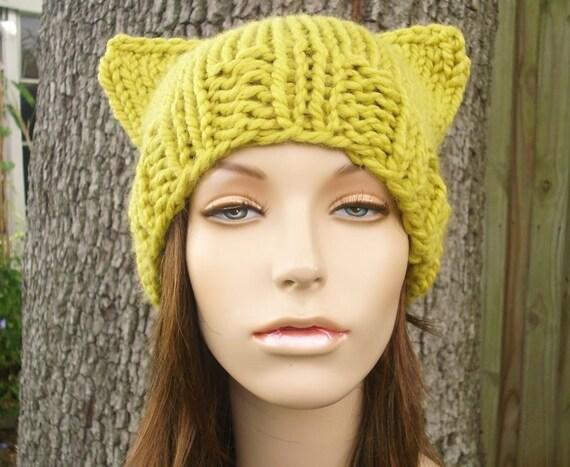 Knit Hat Womens Hat - Yellow Cat Beanie Hat Citron Yellow Knit Hat - Yellow Hat Yellow Beanie Yellow Cat Hat Womens Accessories Winter Hat