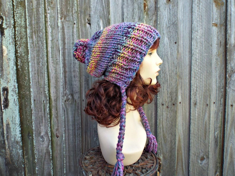 33870122b Rainbow Slouchy Hat Womens Hat - Astroland Rainbow Hat Rainow Beanie  Rainbow Slouchy Beanie - Charlotte Multi Color Slouchy Ear Flap Hat