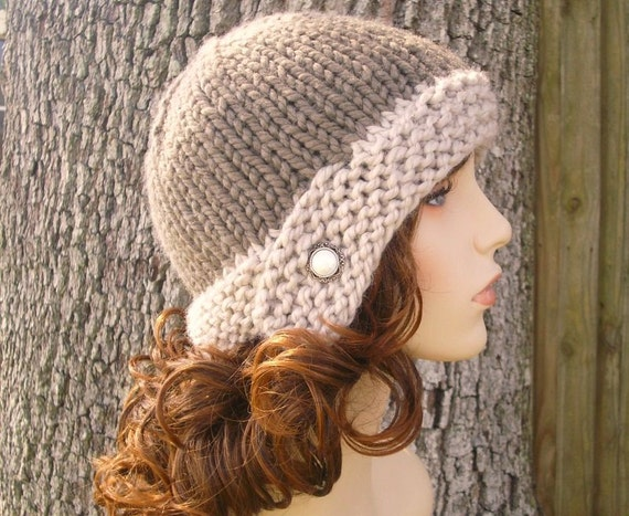 Knit Hat Womens Hat - Cloche Hat in Linen and Taupe Knit Hat - Taupe Hat Taupe Beanie Taupe Cloche Womens Accessories Winter Hat