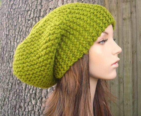 Knit Hat Womens Hat Slouchy Beanie - Oversized Slouchy Hat Lemongrass Green Knit Hat - Green Hat Green Beanie Womens Accessories Winter Hat
