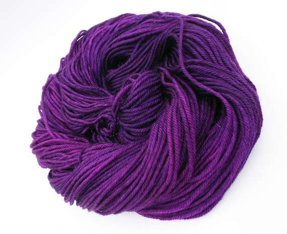 Hand Dyed Yarn 100% Superwash Merino Yarn Worsted Weight Yarn - 220 Yards - Tonal Semi-Solid Purple Yarn - Radioactive Violets