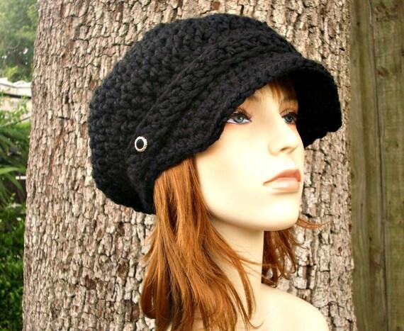Black Newsboy Hat Black Crochet Hat Black Womens Hat - Crochet Newsboy Hat - Black Hat Black Beanie Womens Accessories