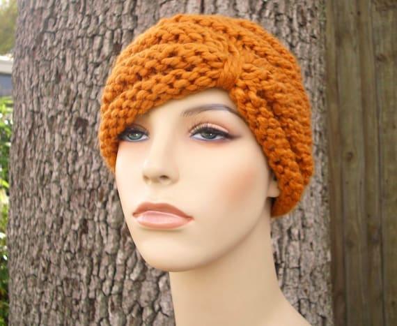 Knit Hat Womens Hat - Turban Hat Beanie in Apricot Orange Knit Hat Orange Hat Orange Beanie Orange Turban Winter Hat - READY TO SHIP