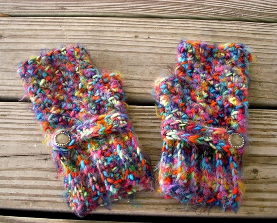 Crocheted Fingerless Gloves Rainbow Mittens - Rainbow Fingerless Gloves - Rainbow Gloves Blue Gloves Pink Gloves