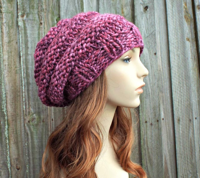 Chunky Knit Hat Womens Hat Oversized Beehive Slouchy Beret Etsy