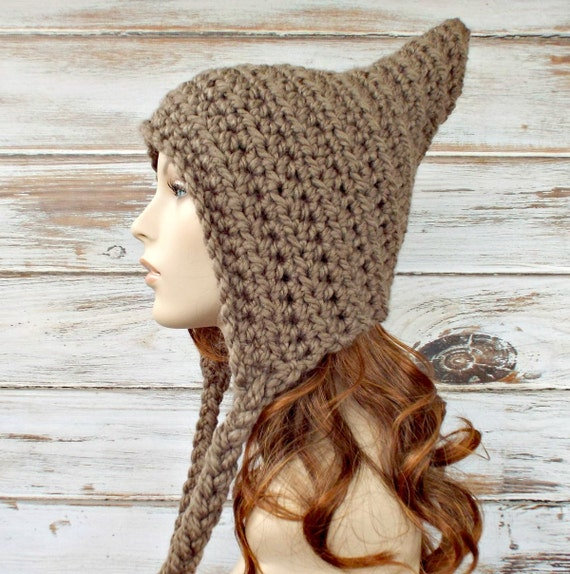 Crochet Hat Womens Hat - Crocheted Pixie Hat in Taupe Brown Crochet Hat Taupe Hat Taupe Pixie Hat Womens Accessories - READY TO SHIP