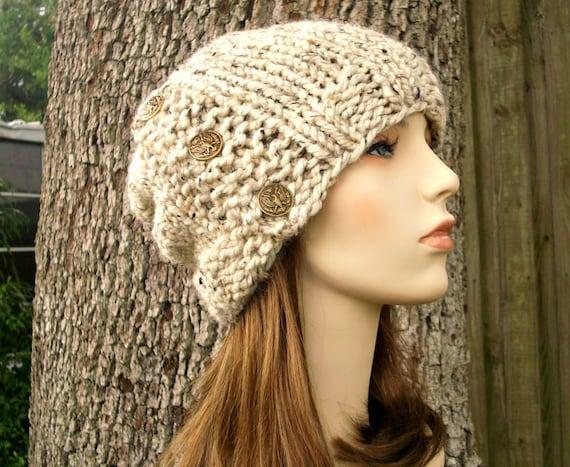 Knit Hat Oatmeal Womens Hat - Cardigan Beanie Hat in Oatmeal Knit Hat - Oatmeal Hat Oatmeal Beanie Womens Accessories Winter Hat
