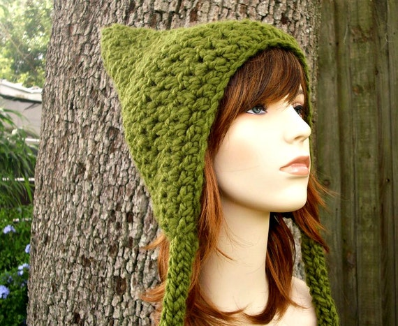 Green Womens Hat - Green Pixie Hat Olive Green Crochet Hat - Green Hat Green Ear Flap Hat Womens Accessories Winter Hat