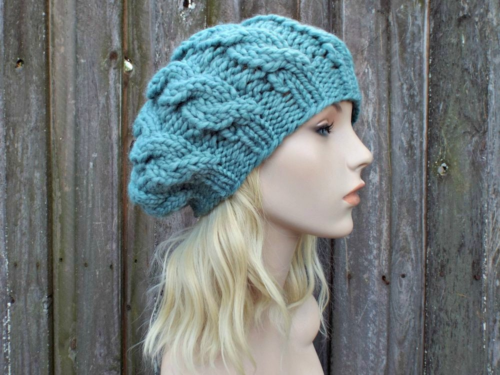 a7c8a4a5bb9a3 Womens Chunky Knit Hat - Succulent Soft Green Blue Cable Beret - Fall  Fashion Warm Winter Hat Knit Accessories